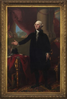 Gilbert Stuart (American, 1755-1828). <em>George Washington</em>, 1796. Oil on canvas, 96 1/4 x 60 1/4 in. (244.5 x 153 cm). Brooklyn Museum, Dick S. Ramsay Fund and Museum Purchase Fund, 45.179 (Photo: Brooklyn Museum, 45.179_PS11.jpg)