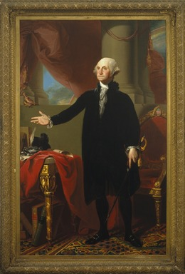 Gilbert Stuart (American, 1755-1828). <em>George Washington</em>, 1796. Oil on canvas, 96 1/4 x 60 1/4 in. (244.5 x 153 cm). Brooklyn Museum, Dick S. Ramsay Fund and Museum Purchase Fund, 45.179 (Photo: Brooklyn Museum, 45.179_SL1.jpg)