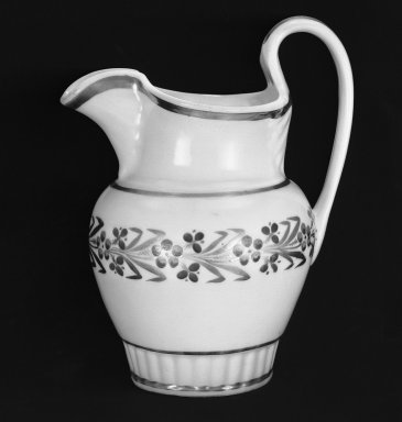 William Ellis Tucker (American, active 1826-1838). <em>Pitcher</em>. Porcelain, 9 1/4 in. (23.5 cm). Brooklyn Museum, Dick S. Ramsay Fund, 45.21.1. Creative Commons-BY (Photo: Brooklyn Museum, 45.21.1_acetate_bw.jpg)