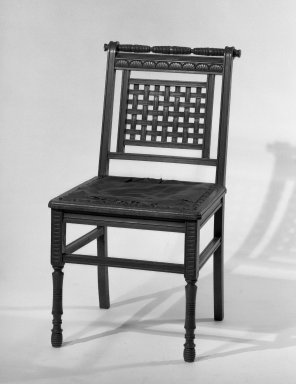 American. <em>Side Chair</em>. Walnut wood, Eastlake style Brooklyn Museum, Gift of Eleanor Curnow in memory of her mother, Mary Griffith Curnow, 45.25.14. Creative Commons-BY (Photo: Brooklyn Museum, 45.25.14_acetate_bw.jpg)