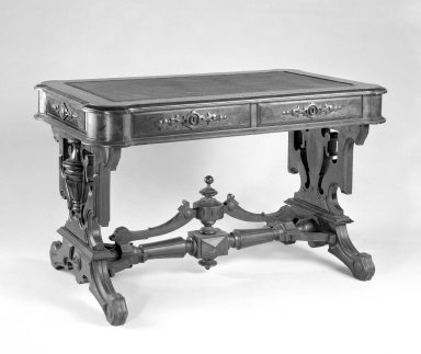 T. Brooks & Company. <em>Rectangular Table</em>, ca. 1875. Walnut wood, 29 x 48 x 28 in. (73.7 x 121.9 x 71.1 cm). Brooklyn Museum, Gift of Eleanor Curnow in memory of her mother, Mary Griffith Curnow, 45.25.3. Creative Commons-BY (Photo: Brooklyn Museum, 45.25.3_bw.jpg)