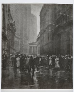 Joseph Petrocelli (American, died 1928). <em>The Curb Market - New York</em>, 1921. Bromoil processed photograph, 14 x 17 in. (35.6 x 43.2 cm). Brooklyn Museum, Gift of Mrs. Joseph Petrocelli, 45.31.38 (Photo: Brooklyn Museum, 45.31.38_PS2.jpg)