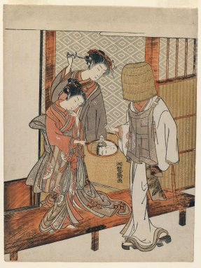 Isoda Koryusai (Japanese, ca. 1766-1788). <em>Courtesan and Kamuro Looking at the Face of a Komusō Reflected in a Mirror</em>, ca. 1770. Color woodblock print on paper, 10 1/4 x 7 5/8 in. (26 x 19.4 cm). Brooklyn Museum, Purchased with funds given by Louis V. Ledoux and Asian Art Department Funds, 45.37.2 (Photo: Brooklyn Museum, 45.37.2_IMLS_PS3.jpg)