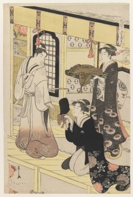 Eishi Chobunsai (Japanese, 1756-1829). <em>'Hana no En,' from 'Eight Views of Disguised Genji (Furyu Yatsushi Genji)'</em>, ca. 1790. Color woodblock print on paper, Sheet: 15 3/8 x 10 13/16 in. (39.0 x 25.9 cm). Brooklyn Museum, Purchased with funds given by Louis V. Ledoux and Asian Art Department Funds, 45.37.4 (Photo: Brooklyn Museum, 45.37.4_IMLS_PS3.jpg)