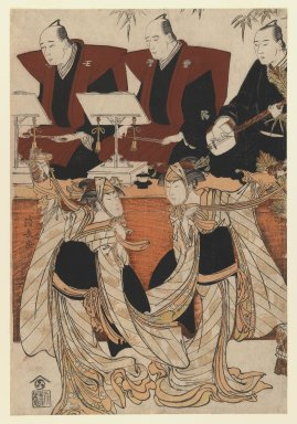 "Torii Kiyonaga (Japanese, 1752-1815). <em>Two Actors as Iwai Hyanshiro IV and Segawa Kikunojo III in the ""Karukoma"" Dance Accompanied by Joruri Recitation on Stage</em>, ca. 1782. Color woodblock print on paper, 14 3/8 x 9 7/8 in. (36.8 x 24.9 cm). Brooklyn Museum, Purchased with funds given by Louis V. Ledoux and Asian Art Department Funds, 45.37.5 (Photo: Brooklyn Museum, 45.37.5_IMLS_PS3.jpg)"
