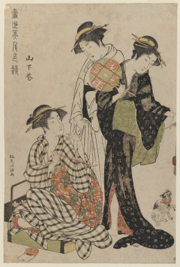 Kitao Masanobu (Japanese, 1761-1816). <em>Yamashita Hana Playing with a Kitten</em>, ca. 1783. Color woodblock print on paper, 14 3/4 x 9 3/4 in. (37.5 x 24.8 cm). Brooklyn Museum, Purchased with funds given by Louis V. Ledoux and Asian Art Department Funds, 45.37.6 (Photo: Brooklyn Museum, 45.37.6_IMLS_PS3.jpg)