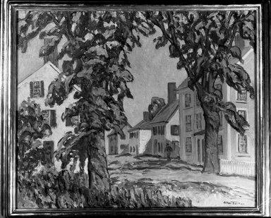 Allen Tucker (American, 1866-1939). <em>New England Town</em>. Oil on canvas, 30 5/16 x 36 1/4 in. (77 x 92 cm). Brooklyn Museum, Bequest of Mrs. John H. Bennett, 45.60 (Photo: Brooklyn Museum, 45.60_framed_acetate_bw.jpg)