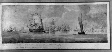 Attributed to Willem van de Velde the Elder (Dutch, 1611-1683). <em>Marine</em>. Watercolor, Sheet: 5 7/8 x 16 1/4 in. (14.9 x 41.3 cm). Brooklyn Museum, Gift of Jacob Bleibtreu, 45.68.2 (Photo: Brooklyn Museum, 45.68.2_framed_acetate_bw.jpg)