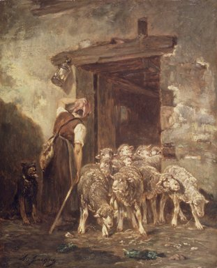 Charles-Émile Jacque (French, 1813-1894). <em>Leaving the Sheep Pen</em>, 1880s. Oil on panel, 18 x 14 9/16 in. (45.7 x 37 cm). Brooklyn Museum, Gift of Jacob Bleibtreu, 45.68.3 (Photo: Brooklyn Museum, 45.68.3.jpg)