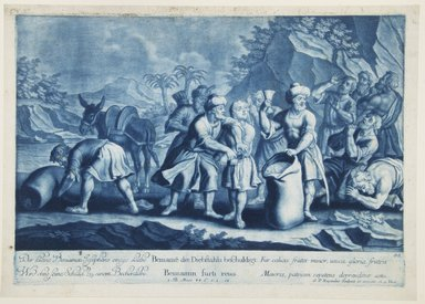 Georg Philipp Rugendas I (German, 1666-1742). <em>Story of Joseph, Plate 88</em>. Mezzotint in blue ink, 10 3/4 × 15 1/4 in. (27.3 × 38.7 cm). Brooklyn Museum, Gift of Mr. and Mrs. Rudolph Tiktin, 45.8.10 (Photo: Brooklyn Museum, 45.8.10_view1_PS12.jpg)