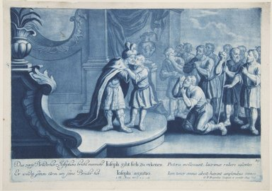 Georg Philipp Rugendas I (German, 1666-1742). <em>Story of Joseph, Plate 89</em>. Mezzotint in blue ink, 10 13/16 × 15 1/4 in. (27.5 × 38.7 cm). Brooklyn Museum, Gift of Mr. and Mrs. Rudolph Tiktin, 45.8.11 (Photo: Brooklyn Museum, 45.8.11_view1_PS12.jpg)