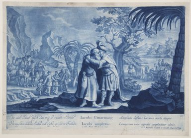 Georg Philipp Rugendas I (German, 1666-1742). <em>Story of Joseph, Plate 90</em>. Mezzotint in blue ink, 10 3/4 × 15 in. (27.3 × 38.1 cm). Brooklyn Museum, Gift of Mr. and Mrs. Rudolph Tiktin, 45.8.12 (Photo: Brooklyn Museum, 45.8.12_view1_PS12.jpg)