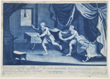 Georg Philipp Rugendas I (German, 1666-1742). <em>Story of Joseph, Plate 81</em>. Mezzotint in blue ink, 10 7/8 × 14 3/4 in. (27.6 × 37.5 cm). Brooklyn Museum, Gift of Mr. and Mrs. Rudolph Tiktin, 45.8.3 (Photo: Brooklyn Museum, 45.8.3_view1_PS12.jpg)