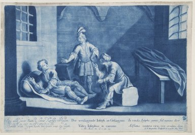 Georg Philipp Rugendas I (German, 1666-1742). <em>Story of Joseph, Plate 82</em>. Mezzotint in blue ink, 10 1/4 × 14 13/16 in. (26 × 37.7 cm). Brooklyn Museum, Gift of Mr. and Mrs. Rudolph Tiktin, 45.8.4 (Photo: Brooklyn Museum, 45.8.4_view1_PS12.jpg)