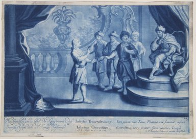 Georg Philipp Rugendas I (German, 1666-1742). <em>Story of Joseph, Plate 83</em>. Mezzotint in blue ink, 10 1/2 × 14 13/16 in. (26.7 × 37.7 cm). Brooklyn Museum, Gift of Mr. and Mrs. Rudolph Tiktin, 45.8.5 (Photo: Brooklyn Museum, 45.8.5_view1_PS12.jpg)