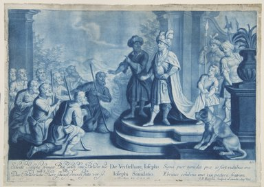Georg Philipp Rugendas I (German, 1666-1742). <em>Story of Joseph, Plate 85</em>. Mezzotint in blue ink, 10 1/2 × 14 3/4 in. (26.7 × 37.5 cm). Brooklyn Museum, Gift of Mr. and Mrs. Rudolph Tiktin, 45.8.7 (Photo: Brooklyn Museum, 45.8.7_view1_PS12.jpg)