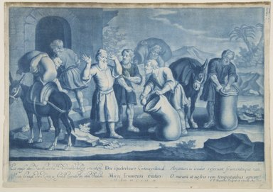 Georg Philipp Rugendas I (German, 1666-1742). <em>Story of Joseph, Plate 86</em>. Mezzotint in blue ink, 10 7/16 × 14 13/16 in. (26.5 × 37.7 cm). Brooklyn Museum, Gift of Mr. and Mrs. Rudolph Tiktin, 45.8.8 (Photo: Brooklyn Museum, 45.8.8_view1_PS12.jpg)