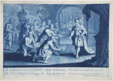 Georg Philipp Rugendas I (German, 1666-1742). <em>Story of Joseph, Plate 87</em>. Mezzotint in blue ink, 10 3/4 × 15 3/16 in. (27.3 × 38.5 cm). Brooklyn Museum, Gift of Mr. and Mrs. Rudolph Tiktin, 45.8.9 (Photo: Brooklyn Museum, 45.8.9_view1_PS12.jpg)