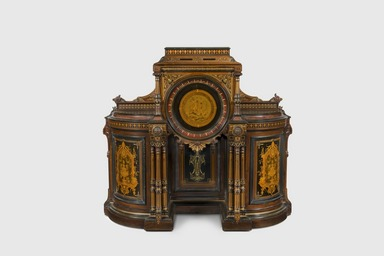 Kimbel and Cabus (1863-1882). <em>Cabinet</em>, ca. 1870. Rosewood, cherry, other woods, brass, gilding, 62 1/2 x 19 1/4 x 68 in. (158.8 x 48.9 x 172.7 cm). Brooklyn Museum, Anonymous gift, 45.96. Creative Commons-BY (Photo: Gavin Ashworth, 45.96_GavinAshworth.jpg)