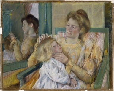 Mary Cassatt (American, 1844-1926). <em>Mother Combing Her Child's Hair</em>, ca. 1901. Pastel on gray paper, 25 1/4 x 31 5/8 in.  (64.1 x 80.3 cm). Brooklyn Museum, Bequest of Mary T. Cockcroft, 46.102 (Photo: Brooklyn Museum, 46.102_SL1.jpg)