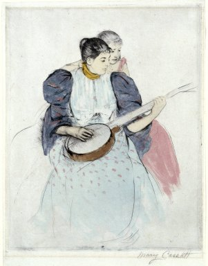 Mary Cassatt (American, 1844-1926). <em>The Banjo Lesson</em>, 1893. Drypoint, softground  and aquatint on verdatre paper, Sheet: 12 3/4 x 9 3/4 in. (32.4 x 24.8 cm). Brooklyn Museum, Bequest of Mary T. Cockcroft, Elizabeth Varian Cockcroft, and Elizabeth Cockcroft Schettler, 46.104 (Photo: Brooklyn Museum, 46.104_SL1.jpg)