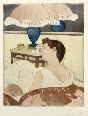 Mary Cassatt (American, 1844-1926). <em>The Lamp</em>, 1891. Drypoint, softground and aquatint on laid paper, Sheet: 16 5/8 x 12 7/16 in. (42.2 x 31.6 cm). Brooklyn Museum, Bequest of Mary T. Cockcroft, Elizabeth Varian Cockcroft, and Elizabeth Cockcroft Schettler, 46.105 (Photo: Brooklyn Museum, 46.105_SL1.jpg)