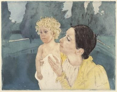 Mary Cassatt (American, 1844-1926). <em>Mother and Child Before a Pool</em>, ca. 1898. Drypoint and aquatint on laid paper, Plate: 12 3/4 x 16 3/4 in. (32.4 x 42.6 cm). Brooklyn Museum, Bequest of Mary T. Cockcroft, 46.106 (Photo: , 46.106_SL3.jpg)