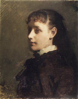 Abbott H. Thayer (American, 1849-1921). <em>Jessie Jay Burge</em>, ca. 1880. Oil on canvas, 19 15/16 x 15 15/16 in. (50.6 x 40.5 cm). Brooklyn Museum, Gift of Jesse Jay Burge and Marie Louise Burge, 46.121 (Photo: Brooklyn Museum, 46.121_transp1669.jpg)