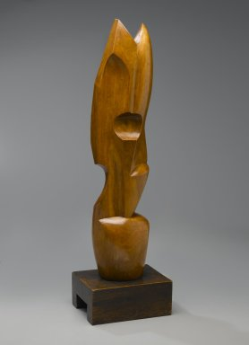Warren Wheelock (American, 1880-1960). <em>Abstraction #2</em>, 1920s. Applewood with darker wood base, Overall (with base): 25 3/4 x 7 1/2 x 5 11/16 in. (65.4 x 19.1 x 14.4 cm). Brooklyn Museum, Dick S. Ramsay Fund, 46.125 (Photo: Brooklyn Museum, 46.125_view1_PS2.jpg)