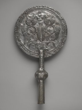 Coptic. <em>Flabellum</em>, late 8th-early 9th century C.E. Silver, 16 1/16 x 8 11/16in. (40.8 x 22cm). Brooklyn Museum, Charles Edwin Wilbour Fund, 46.126.1. Creative Commons-BY (Photo: Brooklyn Museum, 46.126.1_front_PS6.jpg)