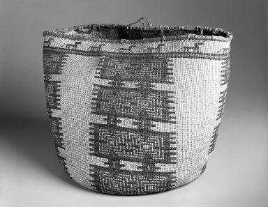 Skokomish, Coast Salish. <em>Large Basket with False Embroidery</em>, early 20th century. Dogbane (Indian hemp), dyes, 12 11/16 x 14 3/4 x 14 3/4 in. (32.3 x 37.5 x 37.5 cm). Brooklyn Museum, Gift of Pratt Institute, 46.136.11. Creative Commons-BY (Photo: Brooklyn Museum, 46.136.11_bw.jpg)