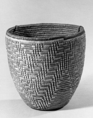 Klikitat. <em>Imbricated Basket</em>, early 20th century. Fiber, rawhide, 7 1/2 x 8 1/8 x 8 1/8 in. (19 x 20.7 x 20.7 cm). Brooklyn Museum, Gift of Pratt Institute, 46.136.3. Creative Commons-BY (Photo: Brooklyn Museum, 46.136.3_acetate_bw.jpg)