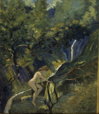 Louis Michel Eilshemius (American, 1864-1942). <em>Nude Ascending</em>, 1908. Oil on cardboard, 27 x 23 5/8 in. (68.6 x 60 cm). Brooklyn Museum, Gift of James N. Rosenberg, 46.14 (Photo: Brooklyn Museum, 46.14.jpg)