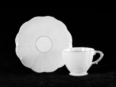 American. <em>Cup and Saucer</em>, ca. 1883-1892. Porcelain, 2 3/16 x 4 3/4 in. (5.6 x 12.1 cm). Brooklyn Museum, Gift of Julie Husson, 46.144.2a-b. Creative Commons-BY (Photo: Brooklyn Museum, 46.144.2a-b.jpg)