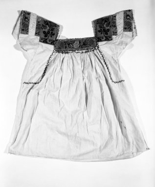 <em>Girl's Machine Stitched Dress</em>. Cotton, glass beads Brooklyn Museum, Gift of Emil Johnson, 46.145.1. Creative Commons-BY (Photo: Brooklyn Museum, 46.145.1_bw.jpg)
