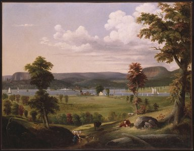 George H. Durrie (American, 1820-1863). <em>Summer Landscape Near New Haven</em>, ca. 1849. Oil on canvas, 35 7/16 x 49 3/8 in. (90 x 125.4 cm). Brooklyn Museum, Dick S. Ramsay Fund, 46.162 (Photo: Brooklyn Museum, 46.162_SL1.jpg)