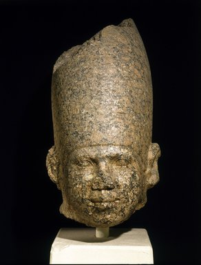 <em>Head of a King</em>, ca. 2650-2600 B.C.E. Granite, 21 3/8 x 11 7/16 in. (54.3 x 29 cm). Brooklyn Museum, Charles Edwin Wilbour Fund, 46.167. Creative Commons-BY (Photo: Brooklyn Museum, 46.167_SL1.jpg)