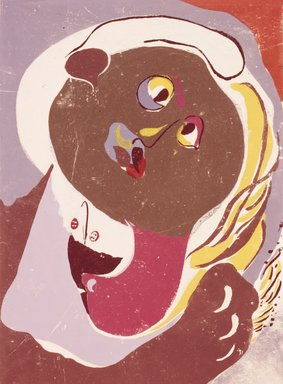 Adja Yunkers (American, born Latvia, 1900-1983). <em>The Big Kiss</em>, 1946. Woodcut on paper, 15 3/4 x 11 9/16 in. (40 x 29.4 cm). Brooklyn Museum, Charles Stewart Smith Memorial Fund, 46.172.6. © artist or artist's estate (Photo: Brooklyn Museum, 46.172.6_SL4.jpg)