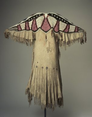 Yakama. <em>Woman's Beaded Dress</em>, late 19th century. Buckskin, glass beads, metal coins, 46 x 45 1/2 in. (116.8 x 115.6 cm). Brooklyn Museum, Museum Collection Fund, 46.181. Creative Commons-BY (Photo: Brooklyn Museum, 46.181.jpg)