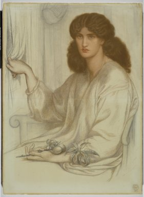 Dante Gabriel Rossetti (British, 1828-1882). <em>Silence</em>, 1870. Dry pigment (pastel or chalk) on two sheets of joined wove paper, 41 7/8 x 30 3/8 in. (106.4 x 77.2 cm). Brooklyn Museum, Gift of Luke Vincent Lockwood, 46.188 (Photo: Brooklyn Museum, 46.188_PS1.jpg)
