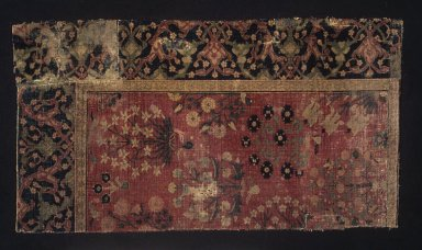 <em>Carpet Fragment</em>, 17th century. Wool and cotton, Old: 38 x 21 in. (96.5 x 53.3 cm). Brooklyn Museum, Gift of Pratt Institute, 46.189.34. Creative Commons-BY (Photo: Brooklyn Museum, 46.189.34_transp6374.jpg)