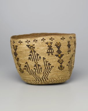 Klikitat. <em>Imbricated Basket with Geometric Figures</em>, early 20th century. Cedar root, grass, dye, 11 1/2 x 8 1/2 x 9 in. (29.2 x 21.6 x 22.9 cm). Brooklyn Museum, Charles Stewart Smith Memorial Fund, 46.193.6. Creative Commons-BY (Photo: Brooklyn Museum, 46.193.6_PS1.jpg)