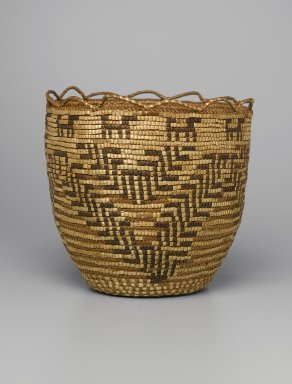 Skokomish, Coast Salish. <em>Basket</em>, late 19th or early 20th century. Cedar root, bark, grass, dye, 10 1/4 x 10 5/8 x 10 5/8 in. (26 x 27 x 27 cm). Brooklyn Museum, Charles Stewart Smith Memorial Fund, 46.193.7. Creative Commons-BY (Photo: Brooklyn Museum, 46.193.7_PS1.jpg)