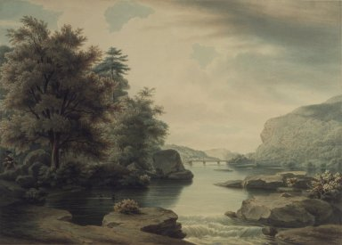 William James Bennett (American, 1787-1844). <em>View on the Potomac Looking towards Harper's Ferry</em>. Watercolor Brooklyn Museum, Dick S. Ramsay Fund, 46.196 (Photo: Brooklyn Museum, 46.196.jpg)