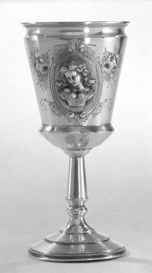 Wood & Hughes (1845-1899). <em>Goblet</em>, ca.1870. Silver, 7 in. (17.8 cm). Brooklyn Museum, Gift from the Estate of General John B. Woodward through Sophia W. Haynes, 46.21.2. Creative Commons-BY (Photo: Brooklyn Museum, 46.21.2_bw.jpg)