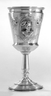 Wood & Hughes (1845-1899). <em>Goblet</em>, ca. 1870. Silver, 7 in. (17.8 cm). Brooklyn Museum, Gift from the Estate of General John B. Woodward through Sophia W. Haynes, 46.21.3. Creative Commons-BY (Photo: Brooklyn Museum, 46.21.3_bw.jpg)