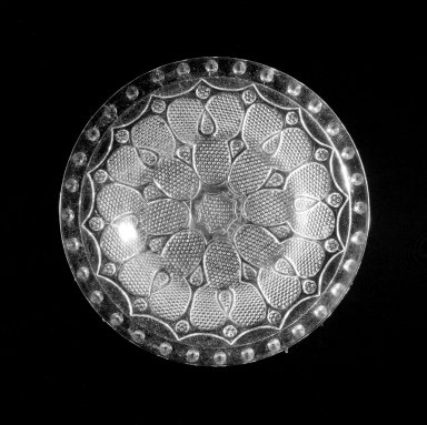 <em>Cup Plate</em>. Glass Brooklyn Museum, Permanent transfer in the Bequest of Anne Dupont Peyton, 46.31.115. Creative Commons-BY (Photo: Brooklyn Museum, 46.31.115_view1_bw.jpg)
