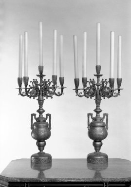 <em>Candelabra, One of Pair</em>, ca. 1880. Silver, gilt, 21 x 12 1/4 in. (53.3 x 31.1 cm). Brooklyn Museum, Gift of John D. Rockefeller, Jr., 46.43.11. Creative Commons-BY (Photo: , 46.43.11_46.43.12_bw.jpg)