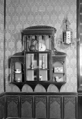 George A. Schastey (1839-1894). <em>Hanging Wall Cabinet, One of Pair</em>. Lacquer with gold decoration, glass Brooklyn Museum, Gift of John D. Rockefeller, Jr., 46.43.18. Creative Commons-BY (Photo: Brooklyn Museum, 46.43.18_bw.jpg)