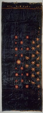 George A. Schastey (1839-1894). <em>Curtain panel, one of a pair (part of a set of two pairs of Curtains) Moorish style, Rockefeller Room</em>, ca. 1880. Aquamarine blue silk velvet with elaborately-embroidered appliques Brooklyn Museum, Gift of John D. Rockefeller, Jr., 46.43.25. Creative Commons-BY (Photo: Brooklyn Museum, 46.43.25.jpg)
